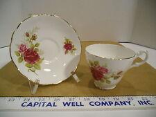 Royal Ascot English Bone China Rose Floral Tea Cup & Saucer Set - Euc