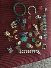 Large Lot Costume Jewelry - Coro Trifari - Purple Flower Earrings