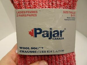 Pajar Canada Wool Socks Ladies size 9-11 New 2 Pairs Red Gray Striped