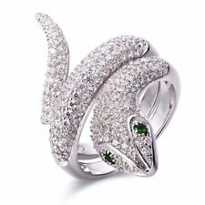 SFFF40 .925 Sterling Silver Animal Snake Shape CZ Women's Fashion Ring Size 5~11