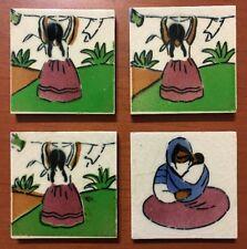 "New listing 1930s Vtg 1940s Set 4 Hand Glazed 2 7/8"" Art Tiles Peasant Scenes Ciasa Mexico"