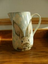Williams Sonoma Damask Bunny Pitcher-Easter-Summer-Springtime-Blue/White--New
