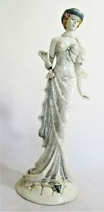 Large Resin Figurine of an Elegant Lady in a Blue Hat 45cm
