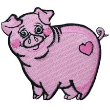 Pig Applique Patch - Pink, Heart, Love, Animal Badge 2-5/8