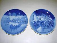 2 B&G Bing & Grondahl Royal Copenhagen Porcelain Christmas Plates 1968 1969