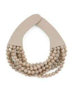 Fairchild Baldwin Bella Marble Tortoise Mushroom 8 Rows Beaded Leather Necklace