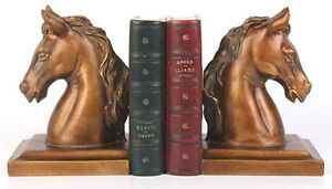 Elegant GOLD Bronze HORSE PONY Bookends Office Study Bookcase Book Ends