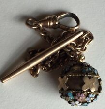 Antique Victorian Watch Chain Raised Blue Enamel Flower Fob Gold Filled T-Bar