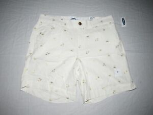 "OLD NAVY WOMEN'S WHITE EVERYDAY PALM TREE SHORTS SIZE 10 WAIST 32"" INSEAM 7"" NWT"