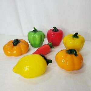 Vintage Murano Style Glass Fruit Vegetables Large Lemon Peppers Pumpkins 7 Piece
