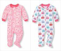 NWT The Childrens Place Girls Owl Emoji Pink Footed Fleece Sleeper Pajamas