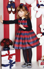 £223 NEW Monnalisa Girls Navy Red Stripe Belt Christmas Party Dress 4 Year 5 3