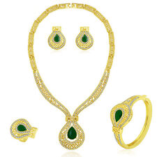 Green Romantic Gold plated Party Costume Necklace Earring Jewellery Set