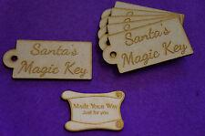 Mdf etiqueta del equipaje redondeados Santa's Magic clave 4x8cm/40x80mm X 3 Mm - 6 X De Corte Láser
