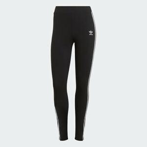 New Adidas Classic 3 stripe women's legging pants CE2441 Linear Leggings- Black