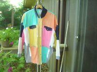Vtg TOGETHER Women's Longer Color Block Spring Jacket 100% Cotton Size Missy XL
