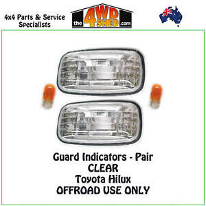 Clear Indicator Guard Repeater Blinker Lights fit Toyota Hilux PAIR 1997-2005