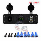 P3 Green Waterproof Voltmeter 12-24v Dual Usb 3.1a Charger Motorcycle Boat Car