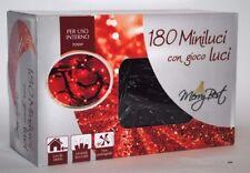 180 Miniluci con gioco luci, MERRY BEST NATALE, lunghezza 7,1mt. colore Rosso