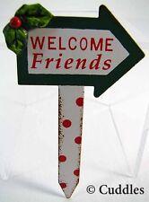 "Fairy Garden Mini ""Welcome Friends"" Stake Xmas Ganz Outdoor Fantasy Plant Flower"