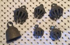 6 Antique India Elephant Harness Bronze Etched Bell  Prong