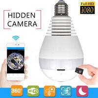 HD 1080P 360° Panoramic WiFi Fisheye Bulb Hidden Camera IR Light CCTV Lamp Cam