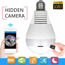 HD 1080P 360° Panoramic WiFi Fisheye Bulb Hidden Camera IR Light CCTV Lamp Cam