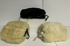 Lot of 3 Vintage Women's Faux or Fur Muff Hand Warmer ~