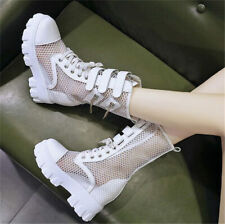 Summer Ankle Boots Women Platform Wedge High Heels Round Toe Punk Creepers Shoes