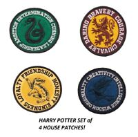 HARRY POTTER SET OF 4  ROUND CREST IRON ON PATCHES ALL 4 HOUSES OFFICIAL