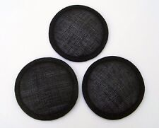 3 Sinamay Bases, 9cm Diameter approx, Black