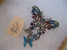 """KIRKS FOLLY """"COLLECTORS CLUB BUTTERFLY BROOCH""""W/SILVER FINISH-BEAUTIFUL!"""