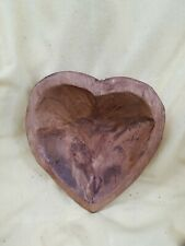 Primitive Style Heart Shape Carved  Wooden Dough Bowl Trencher Unique  #F