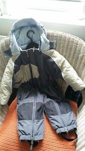 Snow suit baby toddler child 2-3 years ski winter fleece hood grey white black