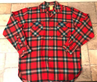 Hudson Bay Mens Medium 15-15.5 Plaid Long Sleeve Wool Button Front Shirt