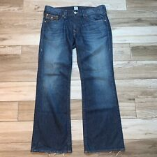 RARE True Religion Billy Bootcut Jeans 38 X 34 Dark Wash Leather Made in USA