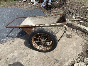 Concrete Garden Cement Buggy Cart Vintage Iron Steel Wagon
