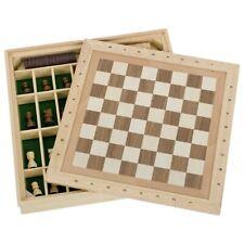 GOKI Spiele-Set Schach Dame und Mühle Hochwertig aus Holz in Holzkassette