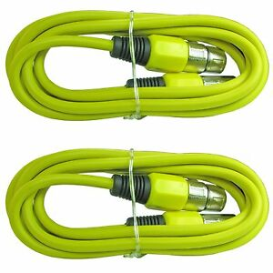2 PACK YELLOW 3 ft foot XLR pin male to female shielded MIC extension cable cord