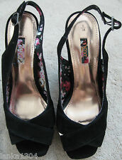 Next Black or Red Wedge heel platform Leathe shoes sandals (NEW)£45.00 size 3.5
