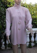 Chemisier tunique femme voile vieux rose épaulettes + détails broderies tbé 52