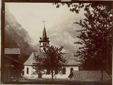Suisse, Église avec le Grindelwald et le Wetterhorn, ca.1906, vintage citrate pr