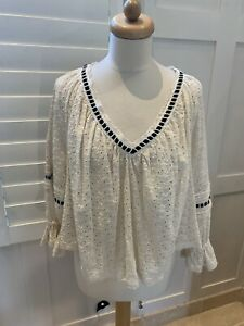 FREE PEOPLE CREAM BRODERIE ANGLAIS TOP S