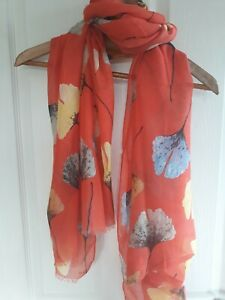 ORANGE LEAVES FLORAL FLOWER PRINT SUMMER SCARF WITH COTTON BN FREE UK P&P