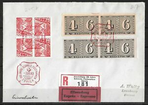 SWITZERLAND 1943 Registered Cover 20c Combination & Perf/Imperf Pair to Lenzburg