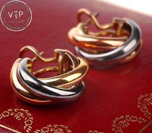CARTIER Trinity Hoop Earrings 18ct. Tricolor Gold Boucles D'Oreilles