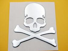 Motorcycle Tank Fender Fairing Decal Sticker Silver 3D Skeleton Skull Bone Devil