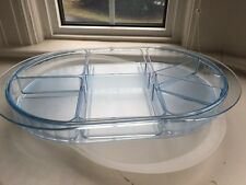 Tupperware Blue Acrylic Preludio 7 pc Removable Divided Oval Serving Tray Set