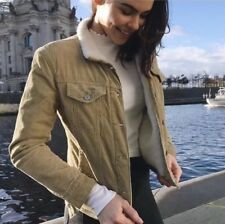 Brandy melville tan Brown fur Fleece collar  button up Shaine Corduroy jacket