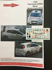 DECALS 1/43 FIAT PUNTO S2000 MARTY RALLYE MONTE CARLO 2010 RALLY WRC